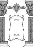 Vintage architectural details design elements. Antique baroque classic style column and cartouche Royalty Free Stock Image