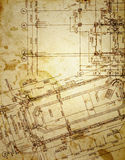 Vintage architectural drawing Stock Photos