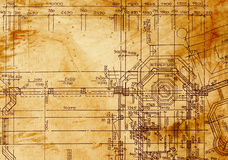 Vintage architectural drawing Stock Images