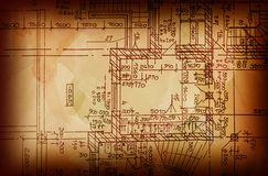 Vintage architectural drawing Royalty Free Stock Photos