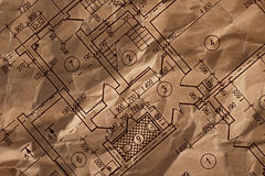 Vintage architectural drawing Stock Photography