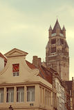 Vintage architectural facade at one old building from Bruges, Be Stock Image