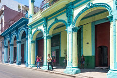 Vintage Architecture Gaining Colors in Havana,Cuba Royalty Free Stock Images
