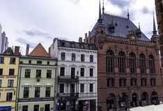 Vintage architecture of Old Town in Torun. Poland stock photos