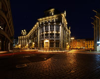 Vintage architecture in old town in Wroclaw in the night. Royalty Free Stock Image