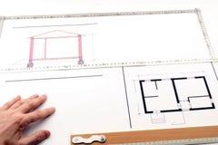 Vintage architecture plans Stock Image