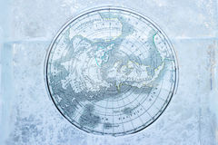 Vintage Arctic map on ice Royalty Free Stock Images
