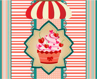Vintage ard with cupcake with red cherries, pink Royalty Free Stock Photo