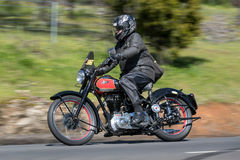 Vintage Ariel Motorcycle on country road. Adelaide, Australia - September 25, 2016: Vintage Ariel Motorcycle on country roads near the town of Birdwood, South Stock Photos