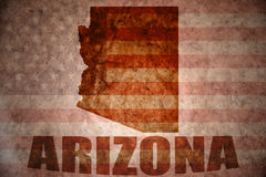 Vintage arizona map. Arizona map on a vintage american flag background stock photography