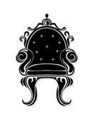 Vintage armchair black silhouette. French Luxury rich carved ornaments decorated furniture. Vector Victorian Royal Style. Structures Royalty Free Stock Image