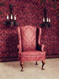 Vintage armchair and sconces Stock Photos