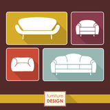 Vintage armchair and sofa icons set. Loft furniture concept Stock Photo