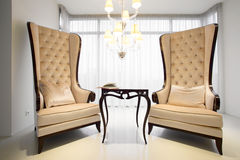 Vintage armchairs inside elegant residence Stock Photography