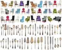 Vintage armchairs and Silverware, antique spoons, forks, knives, ladle, cake shovels isolated on isolated white background. royalty free illustration