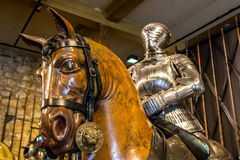 Vintage armor on display in tower of London Stock Images