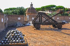 Vintage armory. At the exposition in Sant`Angelo castle. Rome, Italy stock photography