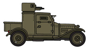 Vintage armoured car. Hand drawing of a vintage khaki military armoured vehicle - not a real model Stock Photos