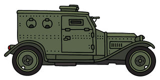 Vintage armoured car. Hand drawing of a vintage military armoured car - not a real model Stock Image
