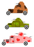 Vintage armoured cars set. Royalty Free Stock Photos