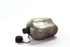Vintage Army Canteen. On  white background Stock Photos