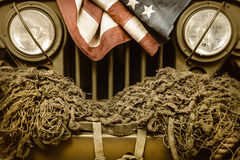 Vintage army car with American flag Royalty Free Stock Photo