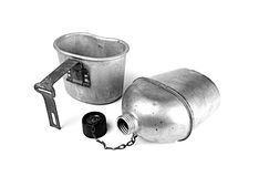 Vintage army cup and canteen. World war 2 vintage army cup and canteen on white Stock Photos