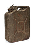 Vintage army fuel jerrycan isolated on white Stock Photos