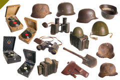 Vintage Army Objects Big Set Isolated. Stock Image