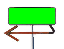Vintage Arrow Sign Isolated with Chroma Green Insert. Vintage arrow sign isolated on white with chroma key green screen insert Royalty Free Stock Images