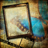 Vintage art. Background in grunge style with frame Stock Images