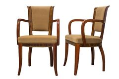 Vintage Art deco Chairs isolated on white background Stock Image