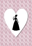 Vintage art deco background with a woman silhouette in heart shape Stock Photo
