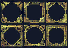 Vintage art deco design elements, old classic border frames vector collection. Template golden victorian frame, illustration of elegant graphic ornate frame Royalty Free Stock Image