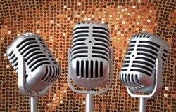 Vintage art deco mic trio Stock Photography
