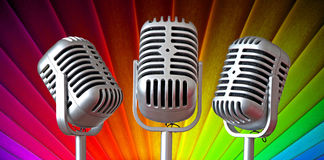 Vintage art deco mic trio Royalty Free Stock Images