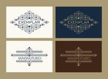 Vintage Art Deco Monochrome Flourishes Monogram ethnique de luxe Emblème ornemental Logo de calibre Style de hippie illustration libre de droits
