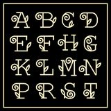 Vintage Art Nouveau floral font for  monogram Royalty Free Stock Photography