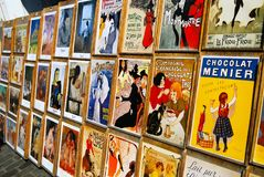 Free Vintage Art Posters Display France Stock Photography - 137783382