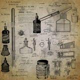 Vintage Art Supplies Collage Background - fournitures de bureau antiques - vintage - papeterie - peinture - encre illustration de vecteur