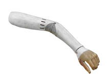 Vintage artificial arm isolated. Royalty Free Stock Photography
