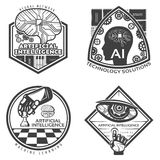 Vintage Artificial Intelligence Emblems Set stock illustration