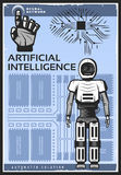 Vintage Artificial Intelligence Poster. With android cybernetic arm and neural network on technologic background vector illustration Royalty Free Stock Images