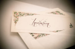 Vintage artistic edit of a decorated letter card with and envelo Royalty Free Stock Images