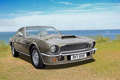 Vintage aston martin 1977. Photo of a vintage 1977 aston martin v8 car on display at whitstable car show during summer of 2016 royalty free stock image