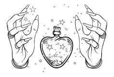 Vintage Astronomy: human hands with heat-shaped bottle or jar w. Ith stars inside. Dotwork ink tattoo flash design. Vector illustration isolated on white royalty free illustration