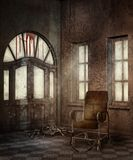 Vintage asylum hallway. With an old chair and bones stock illustration