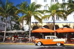 Vintage atmosphere in Ocean Drive, Miami Beach Royalty Free Stock Images