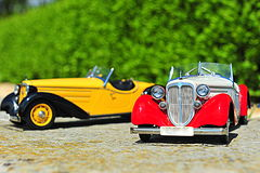 Vintage Audi roadster cars - scale models Stock Photos