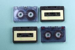 Vintage audio cassette tape blue background stock photos